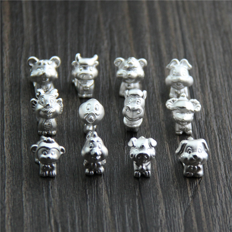 3D Hard Silver Accessories 12 Zodiac Birth Year Braided Rope Transfer Beads 999 Pure Silver Beaded Bracelet DIY Beads