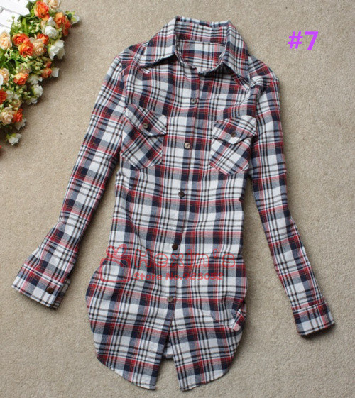 Free Shipping  New Arrival Girls' Cotton Plaid Blouse/Long Sleeves/Lapel Shirt/Fashion Classic Blouse