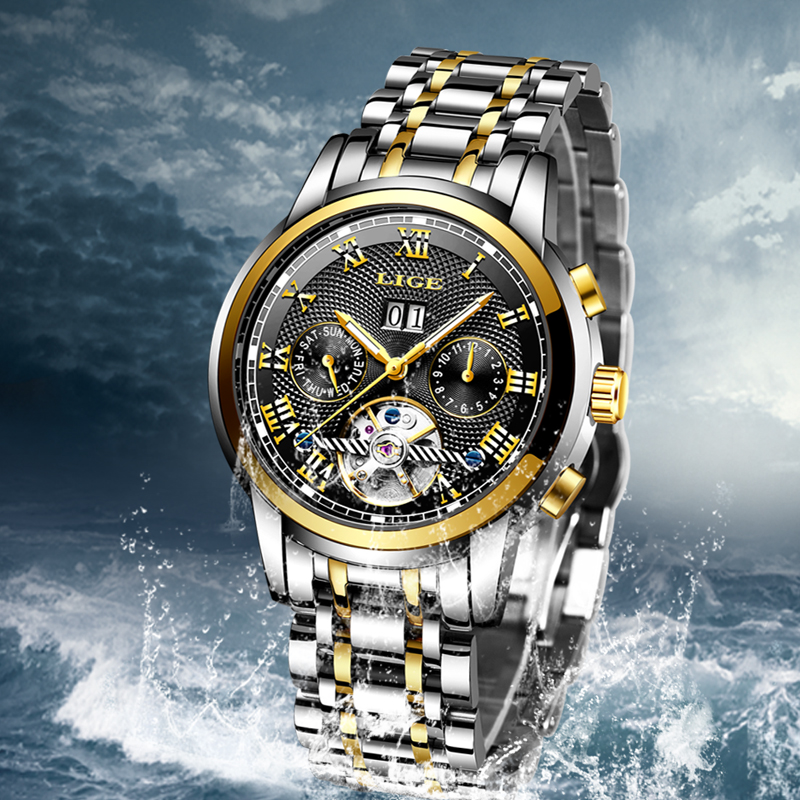 LIGE Automatic Mechanical Watches Mens Top Brand Luxury Business Watch Mens Stainless Steel Waterproof Watch Relogio MasculinoLIGE Automatic Mechanical Watches Mens Top Brand Luxury Business Watch Mens Stainless Steel Waterproof Watch Relogio Masculino