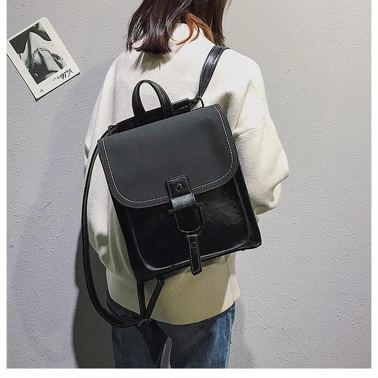 Women's Small Backpack Girl PU Leather Preppy Style School Bag 2019 Fashion Brand Female Vintage Scrub Travel Rucksack for Women (8)