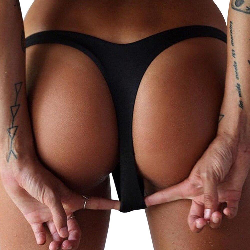 2017 Sexy Women New Brazilian Bikini Bottom Thong Swimsuit Beachwear Mini Swimwear Bathing Suit Micro Biquini Hot Sale 2 Color sexy young girls bikinis set 3d color halter top and thong bottom bathing suit 2016 hot new biquini swimsuit