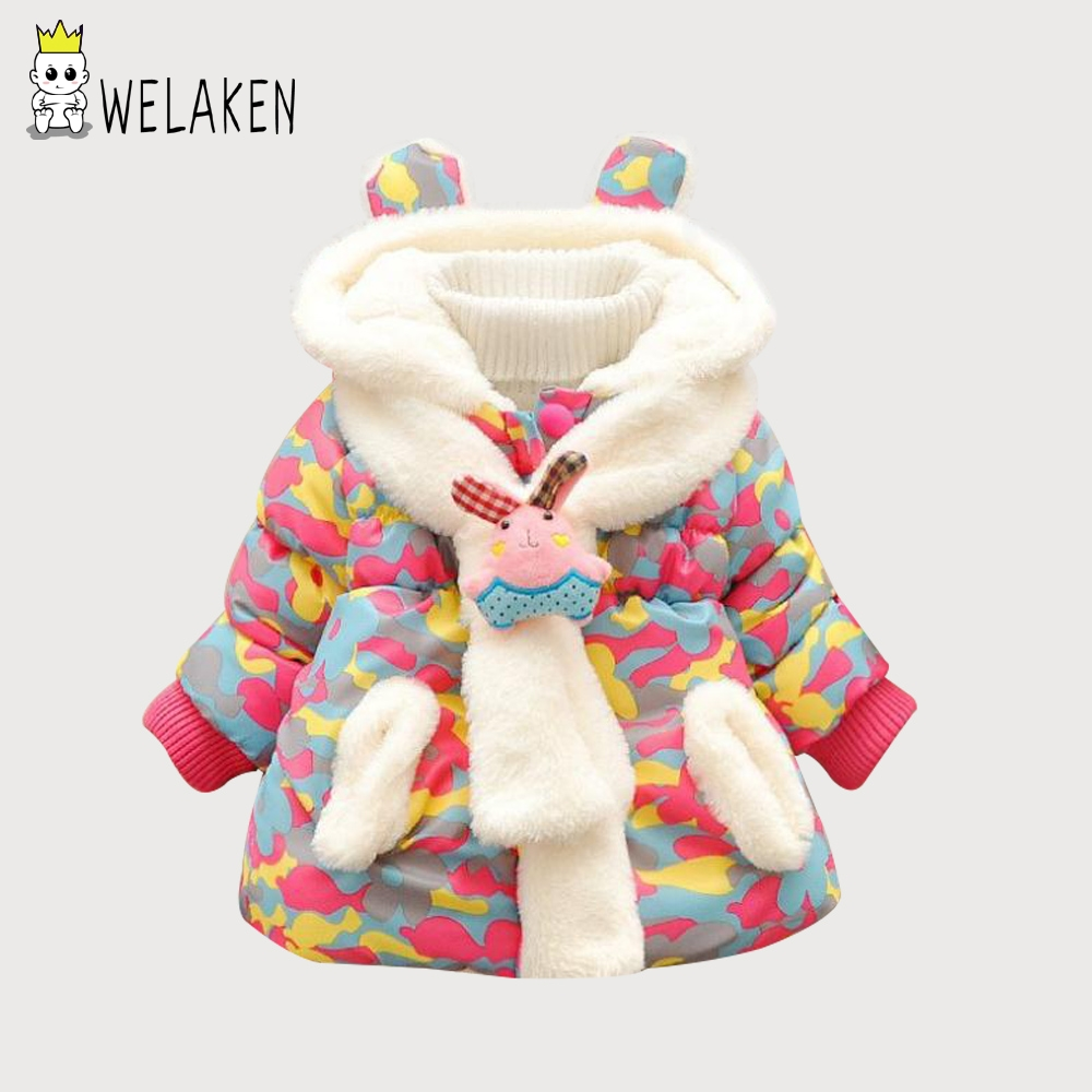 Winter Jacket Child Girls Down Coat Parkas With Floral Printed Hooded Kids Down Jackets Girls Outerwear Coats Kids Thick Parkas jaket bayi perempuan lucu