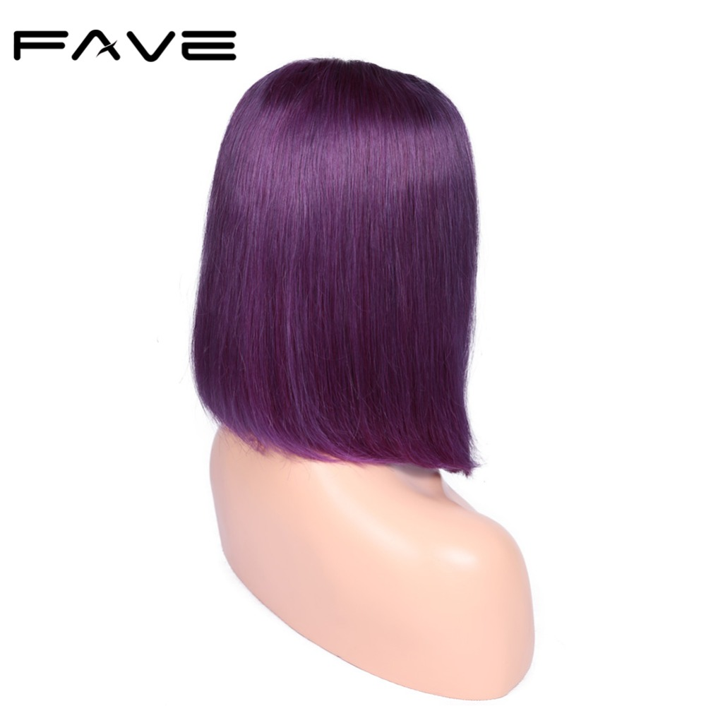 Bob Lace Front Human Hair Wig Purple Color Short Straight Glueless Brazilian Remy Wigs For Women