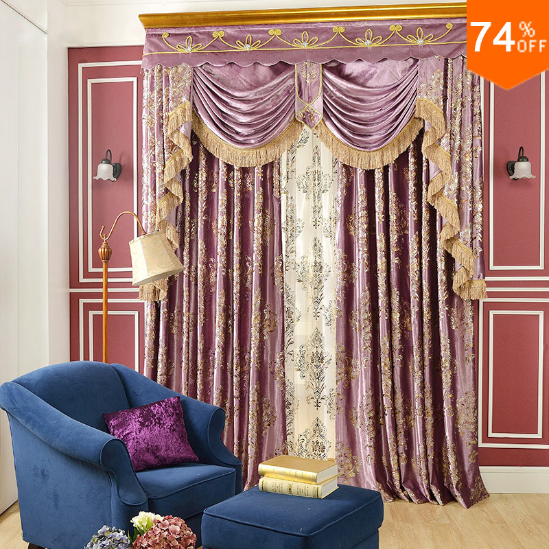 Pink Small Fur Surface Embroid Pinky Golden Flowers Curtains Rod Stick  Curtain Classic Design Elegant Bedroom