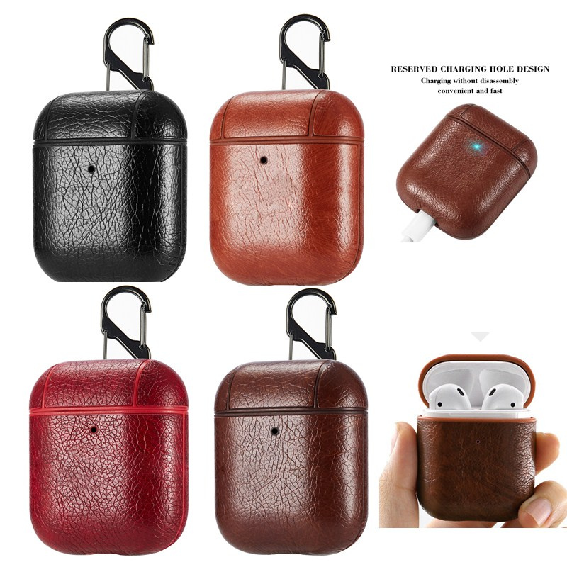 Luxury Wireless Bluetooth Earphone Case For Apple Airpods PU Leather Headphones Cases For Airpods 2 Protective Cover