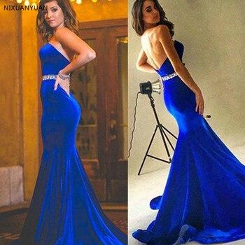 Royal Blue Evening Dresses Long 2020 Mermaid Velvet Beaded Sexy Backless Prom Gown Wear Formal Evening Robe De Soiree