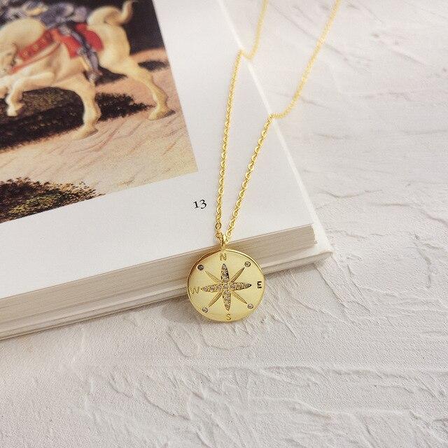 LouLeur 925 סטרלינג כסף זהב מצפן מכתב תליון שרשרת עגול creative שיק אלגנטי לתכשיטי נשים