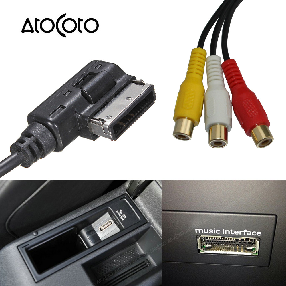 AtoCoto Car 3 RCA Audio Video Input to AMI MMI Interface Conversion Connector Line Cable for Audi VW A3 A4 A5 A6 A7 Q5 Q3 Q7 body jewelry