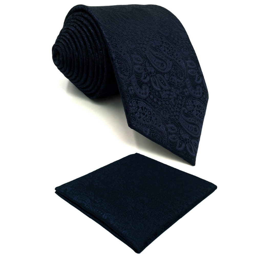 E14 Navy Abstract Silk Mens Necktie Set Fashion Classic Ties For Male Dress Novelty Extra Long Size Hanky