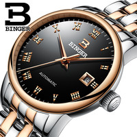 BINGER Watch Women Fashion Dress Automatic Mechanical Watches Lady Stainless Steel Waterproof Wristwatch Simple Girl Clock
