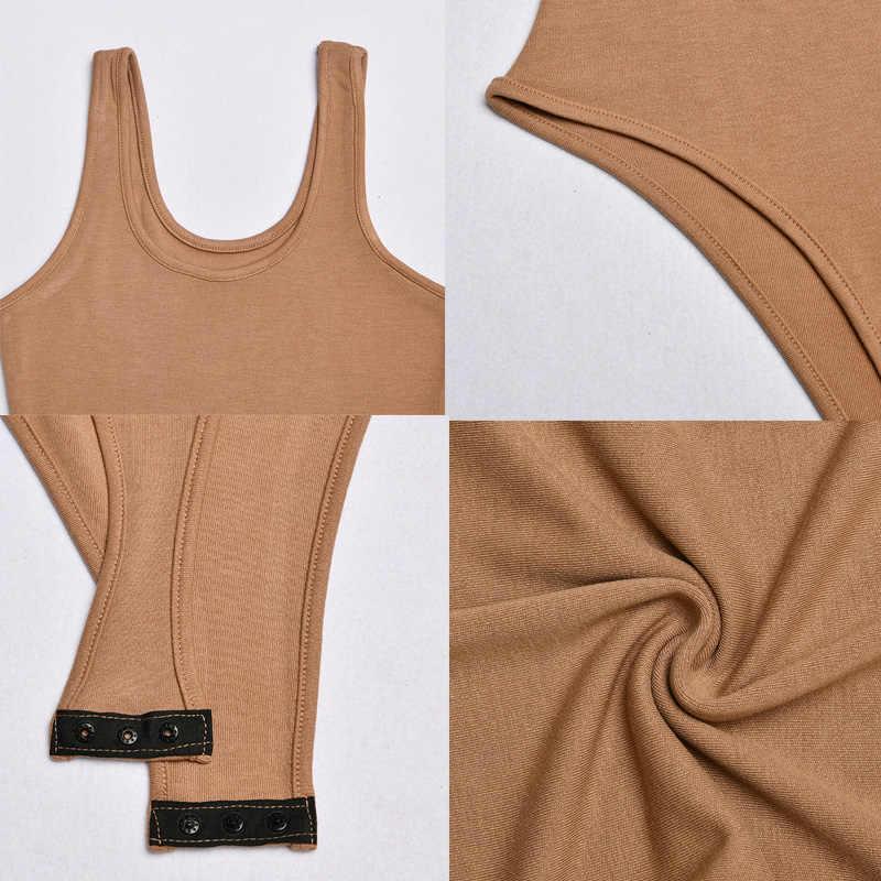 Bodi Sexy para mujer 2019 de punto sólido de algodón sin mangas de verano de cintura alta ceñido al cuerpo monos