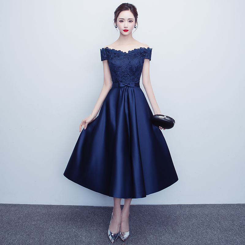 Navy Blue   Evening     Dresses   2019 A-line Off The Shoulder Lace Formal Party   Evening   Gown Prom   Dresses   Prom Gown Robe De Soiree