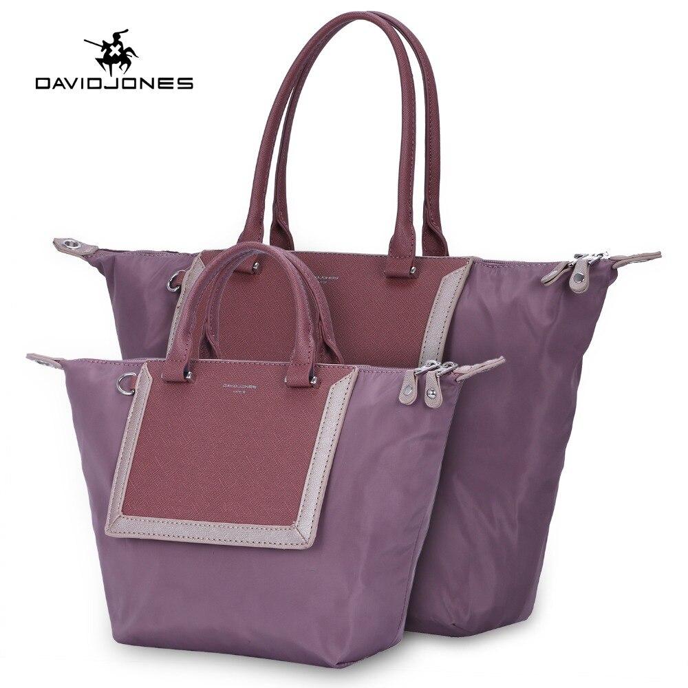 DAVIDJONES femmes 2 pièces sac messenger ensemble nylon femme sac à main grande dame patchwork sac à bandoulière fille marque shopping composite sac