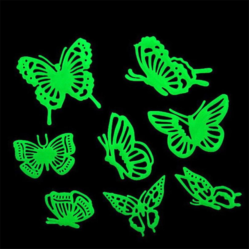 Wallpaper Sticker Butterfly Novelty Noctilucent Luminous Plastic Wall Sticker Ceiling Decal Home Wallpapers For Living Room B#