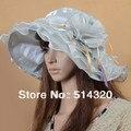 A061 Серый Атласная Многослойные Женщины Винтаж Венчание Кентукки Широкими Полями Шляпа От Солнца