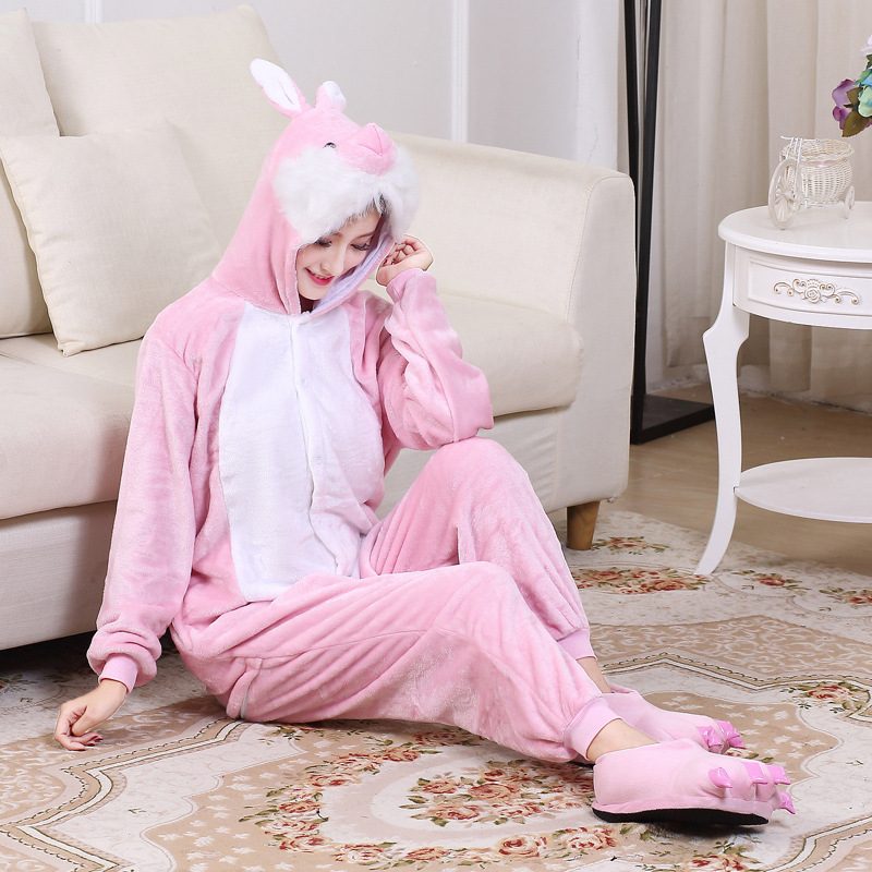 Cute Pink Bunny Cartoon Animal Hooded Long Sleeve Onesie Adult Winter animal pajamas Rabbit For Women Cosplay Sleepwear (4)