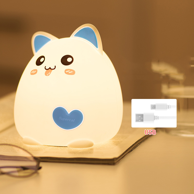 Premium Silicone Touch Sensor Lamp 7 Colors Change Cartoon Cat Table Decorative Lamp Baby Nursery Lamp Breathing LED Night Light