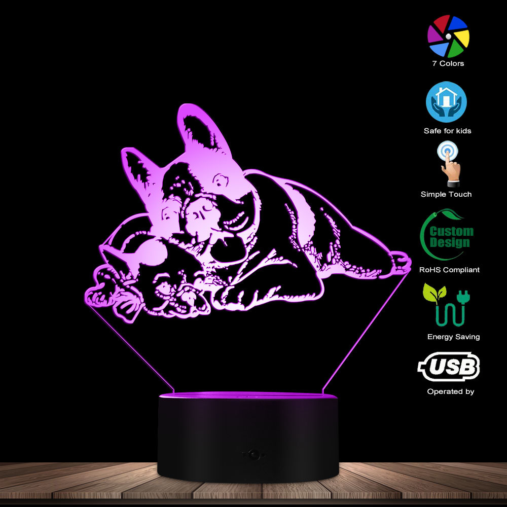 Friendly French Bulldog Shape Glowing LED Lamp Home Art Decorative Lighting Custom Name Mood Night Light Excellent Dog Toy Gift