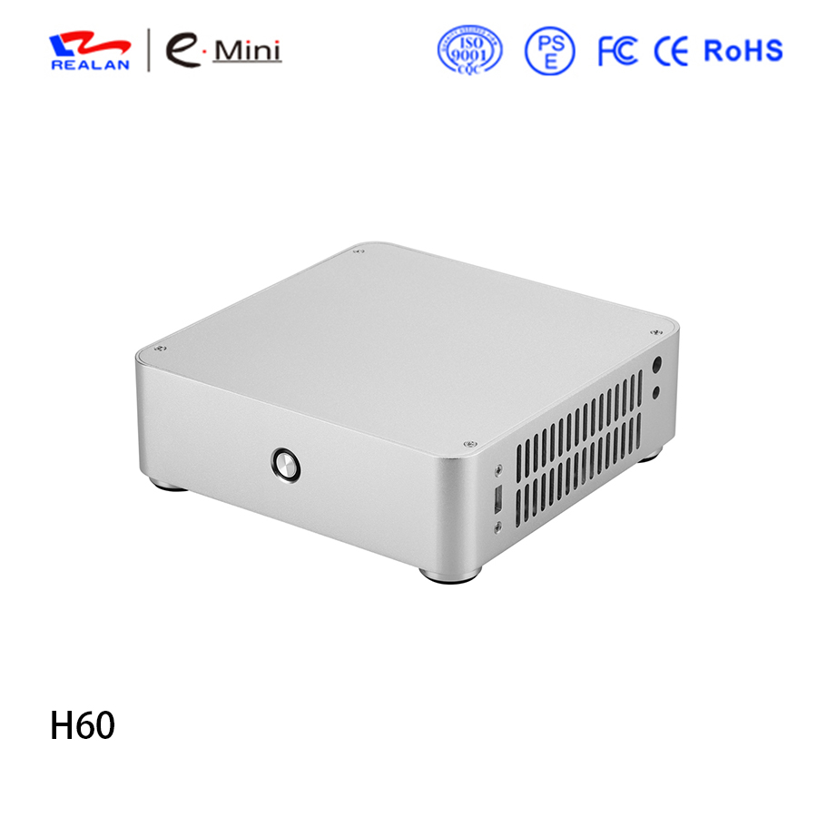 Realan H60 HTPC Computer Case Chassis Aluminum Mini ITX Case PC Box Without Power Supply Free Shipping new fan e i5 aluminum htpc computer case e350 h61 hd perfect match i3 i7 e i5