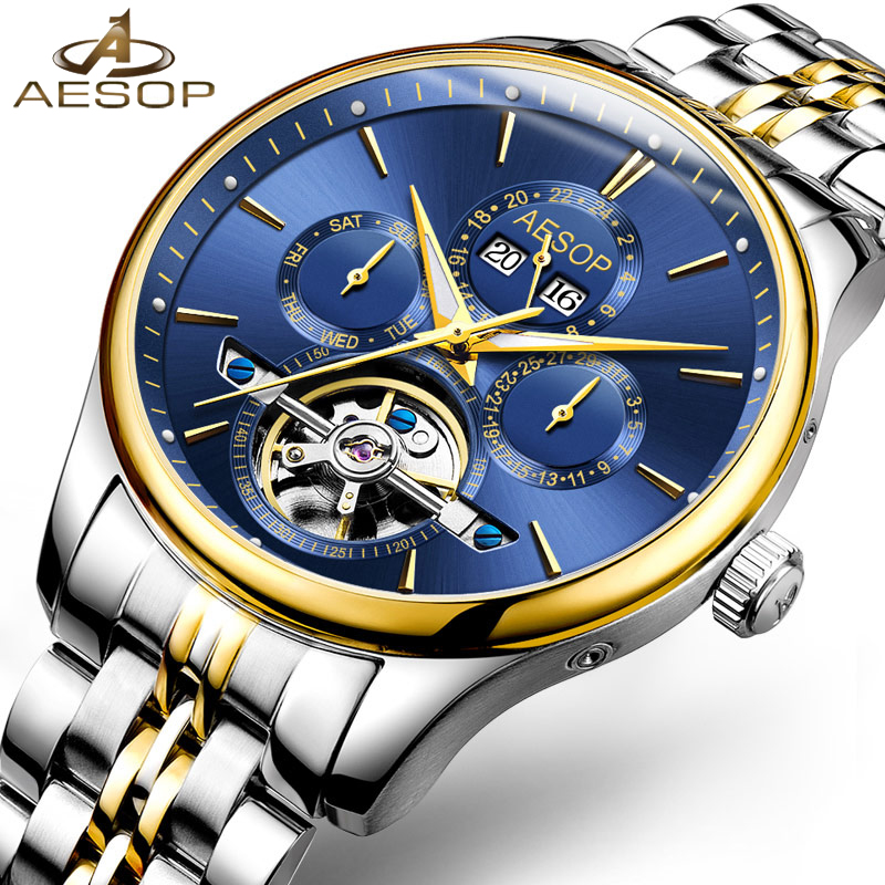 Mens Watches Top Brand Luxury Aesop Men Military Sport Wristwatch Automatic Mechanical Tourbillon Watch relogio masculino 2018 hes 25 2mht within the control of incremental photoelectric encoder pulse hes 25 2mht new in box free shipping