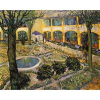 Classic oil painting on canvas courtyard of hospital in Arles Van Gogh stretched handmade landscape art for wall home decor