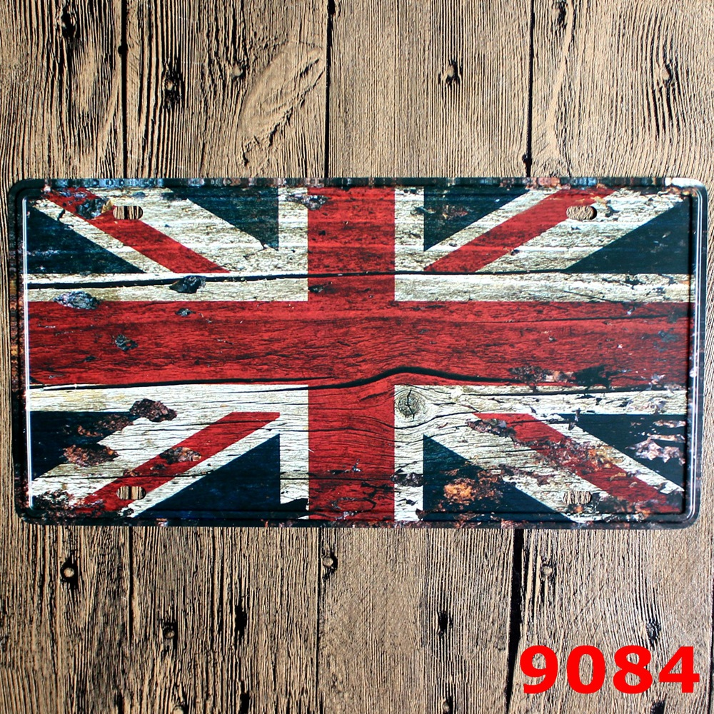 LOSICOE Vintage license plate British flag Metal signs home decor Office Restaurant Bar Metal Painting art 15x30 CM