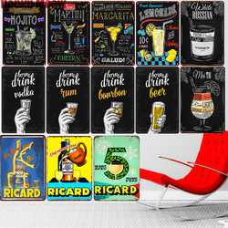Mojito Martini Vodka Vintage Metal Sign Home Bar Pub Decorative Plates Beer Art Painting Ricard Wall Stickers Decor 30*20cm A112