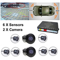 New Dual Channel Video Car Parking Reverse Radar System 6 8 Sensor with Front View Camera and Rear view Camera