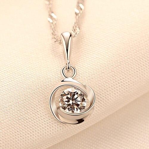 LUOTEEMI, новинка, модное женское ожерелье из стерлингового серебра 925, ювелирное изделие, восемь сердец и восемь стрел, циркониевое ожерелье с кулоном - Окраска металла: chain length 40cm