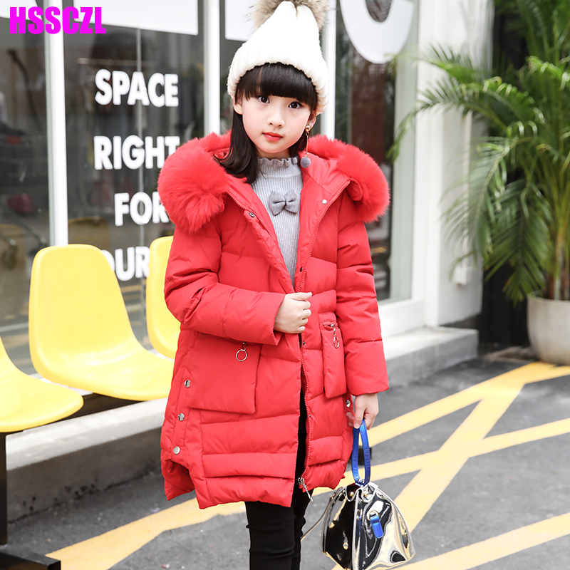 HSSCZL girls down jacket girl coat large Artificial fur hooded collar long children outerwear parka coats overcoat free shipping real wolf hair fox fur liner parka winter jacket women long parkas coat raccoon fur collar hooded long sleeves