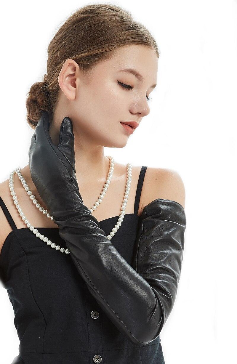 80 см (31,5 ) Длинные Простые супер длинные перчатки из натуральной овечьей кожи черные - 5