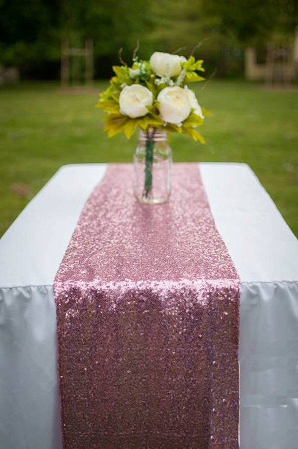 20pcsPack Luxury Pink GoldSilver Sequin Table Runner Wedding Party Table Decoration Solid