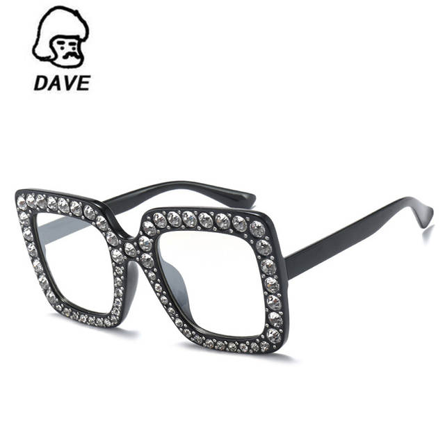b7d6680821 DAVE Brand Trend Pink Rhinestone Sunglasses Women Purple Black Square  Oversized Sun Glasses Female Party Crystal