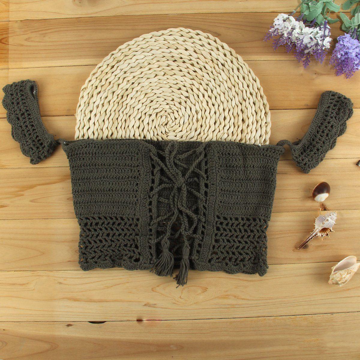 Women Crochet Bralette Knit Bra Beach Sleeveless Vest Halter Crop