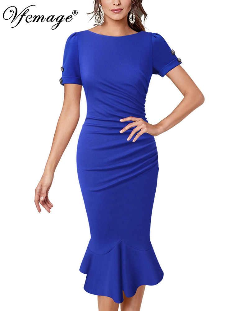 Vfemage женское элегантное винтажное платье с рюшами и рюшами, деловые Коктейльные Вечерние облегающие платья Русалка, миди до середины икры, 2056