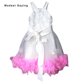 Lovely Ivory and Pink Ball Gown Flower Feather Flower Girl Dress 2017 with Strap Tea Length kid Prom Gowns for girl pageant YF19