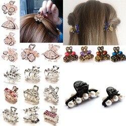 Crystal Mini Butterfly Headwear Claw Rhinestone Hair Clip Clamp Hairpin Flower Clamps Hair Clips Decor Hair Pin Claw Women Girl