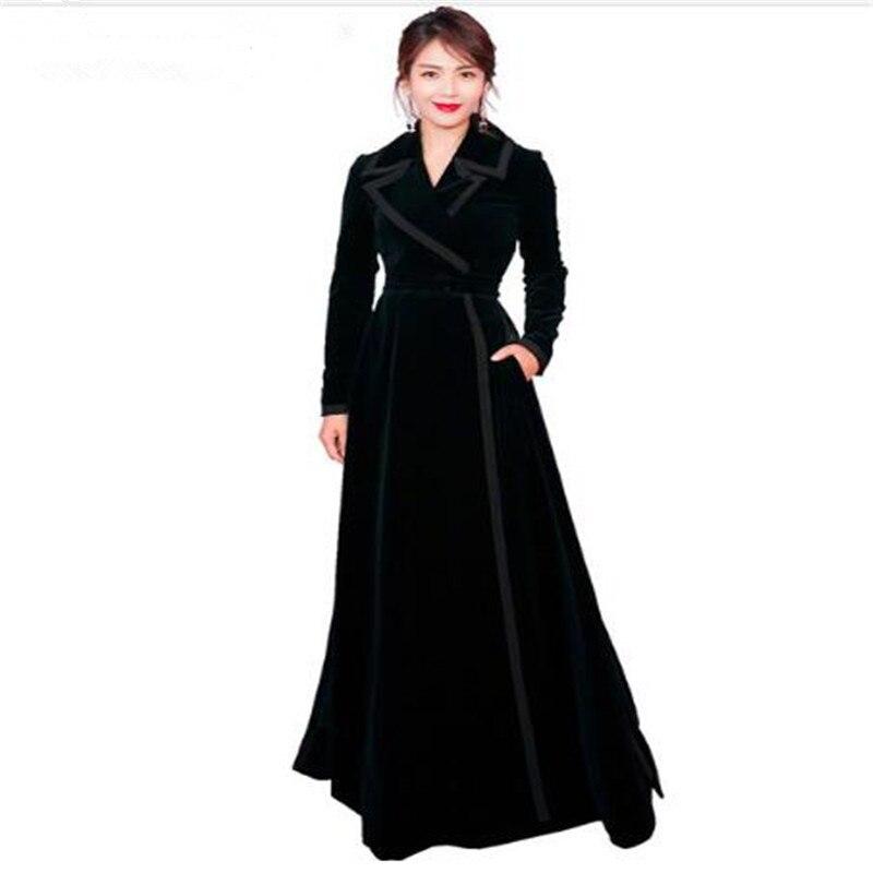 Piste Wrap Hiver Nouveau Velours Noir Entaillé Tranchée 1 Manteau Maxi Femmes Longue Épais Designer Vintage Col 2018 Chaud Outwear 8Eq5qwf