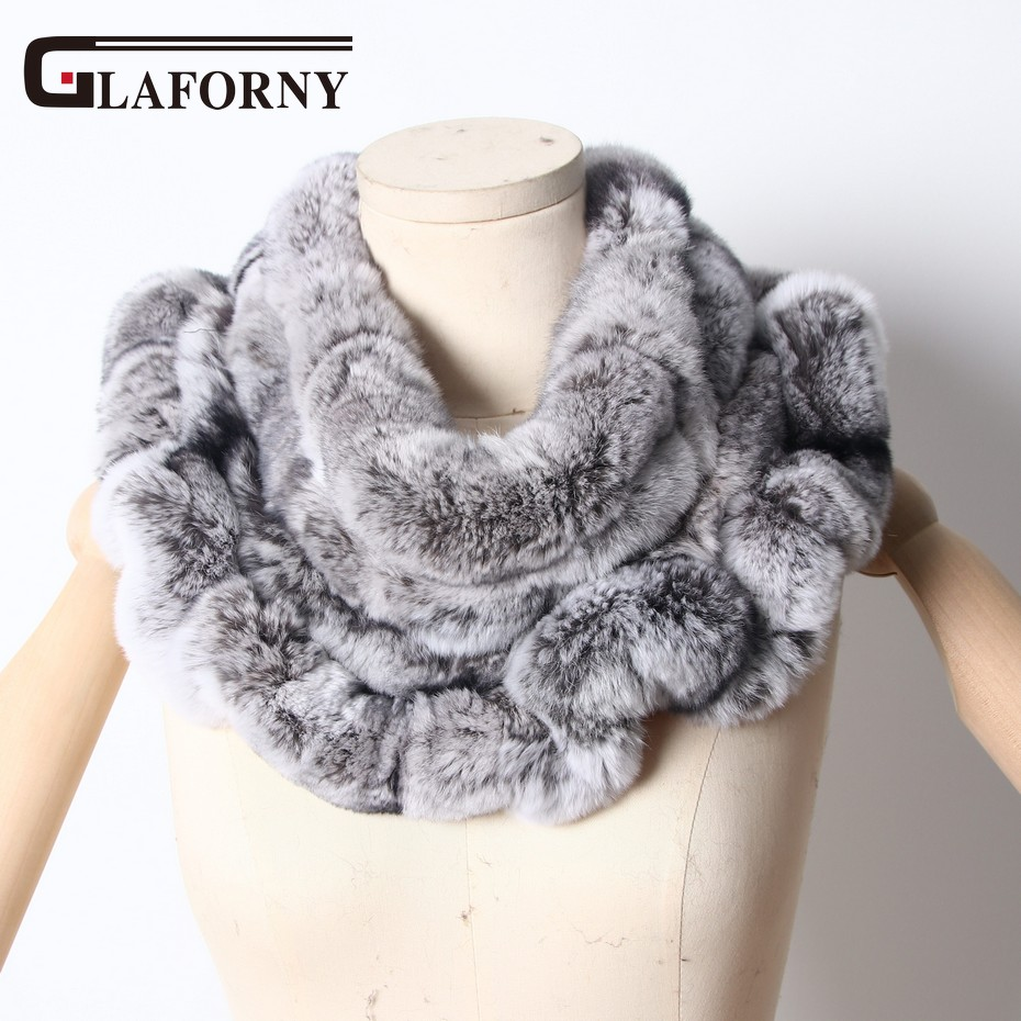 Glaforny 2018 New Women Rex Rabbit Fur   Scarves   Rings Winter Warm Fur   Scarf     Wraps   Snood High Quality Natural Fur Solid Fashion