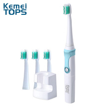 Kemei Washable Electric Toothbrush Rechargeable Ultrasonic Toothbrush with 3 Heads Oral Hygiene Dental Care Irrigator KM-907 kemei 360 degrees chargeable electric toothbrush waterproof ultrasonic whitening cleaning teeth with 3 toothbrush heads km 907