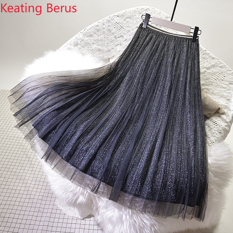 Women Skirt Loose Large Size White Long Mesh Skirt Casual Women Beach Pleated Skirt Women Skirt Harajuku 0946 Price $18.88