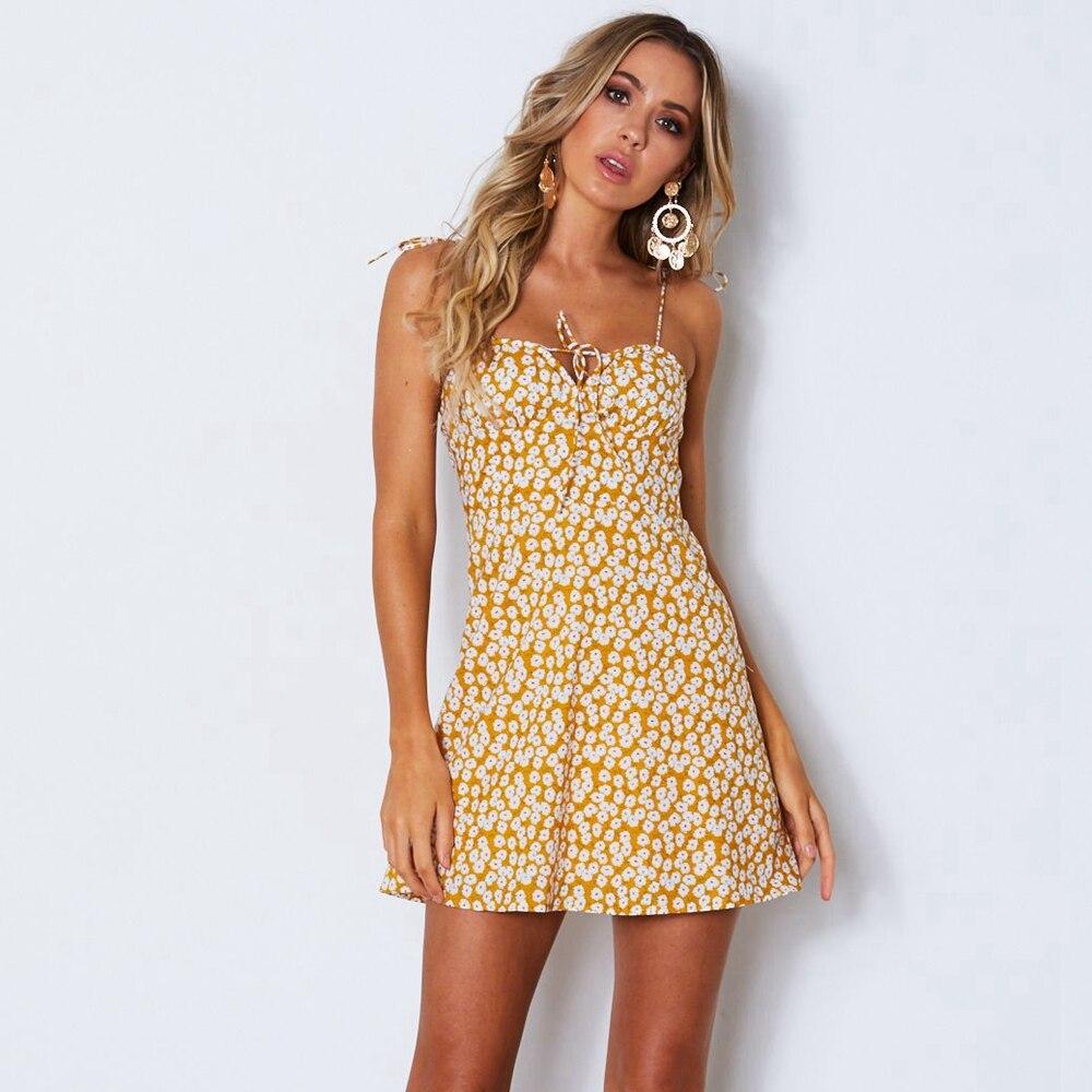 sexy dress women summer 2019 floral Print A Line ...