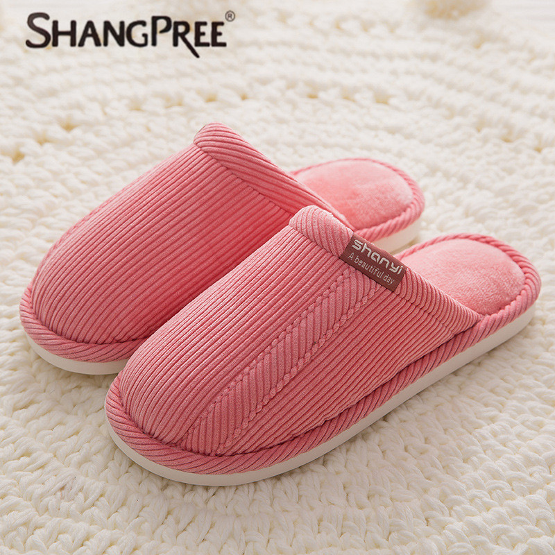 SHANGPREE women Slippers Keep Warm Winter 2018 New Arrival Fashion Cotton slippers Casual Flat Lovers Indoor Corduroy Slipper children parents boys girls cartoon bathroom slippers summer women home slippers lovers slides flat with indoor fashion new