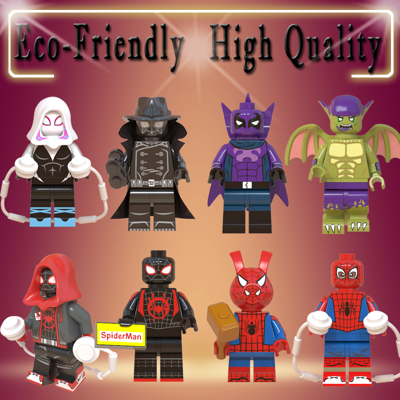 21b9dfcb838b5 Legoe figures Marvel Action Figure Super Heroes Spider-Man Noir Gwen Ham  Spiderman Prowler Building
