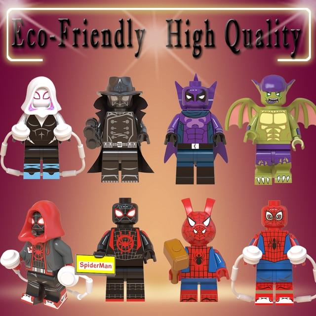 Legoe figuras de Ação Maravilha Figura Super-heróis Homem-Aranha Noir Gwen Presunto Prowler Blocos de Construção de Brinquedos para as crianças Do Homem Aranha WM6052