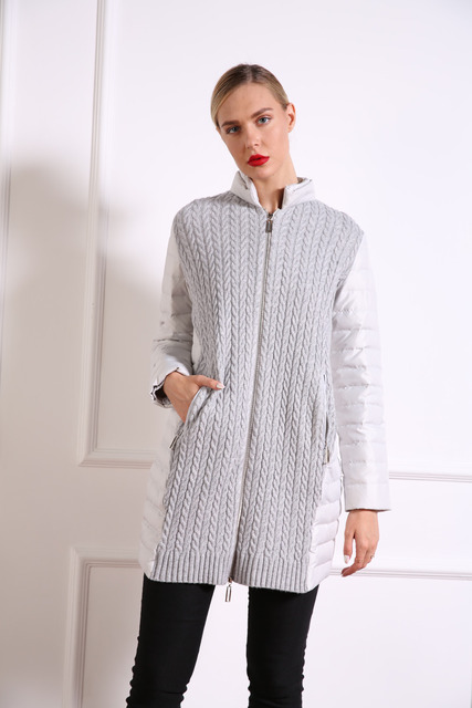 AZZIMIA New 2017 Fashion Autumn women s Light Down Coat with Sweater(90%  wool   29a86ad533