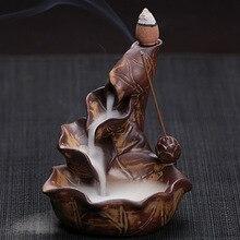 Китайский Керамики Ремесел Творческий Дом Декор Lotus Пруд Дым Обратного Потока Конус Палочки Благовоний Курильница Бесплатная Доставка E