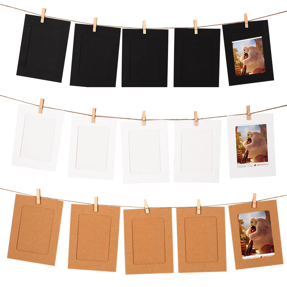 10x Hanging Clip String Wedding Picture Paper Baby Photo Frames Party  Banquet Home Decor(china