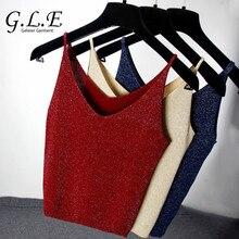 Geleier 2018 crop top Bright silk V collar blouses women's t-shirt tank top Summer haut femme sexy tops for women Knit Camis