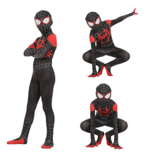 Children Kids Spider-man Into The Spider Verse Miles Morales Cosplay Costume Spiderman Pattern Bodysuit Zentai Suit Jumpsuit